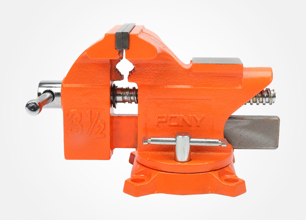 Light-duty bench vise with swivel base